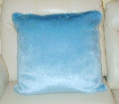 Powder Blue Faux Fur Cushion 61 x 61cm 24 x 24 inches