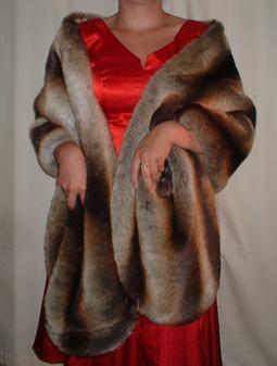 Golden Brown Chinchilla Faux Fur Long Stole