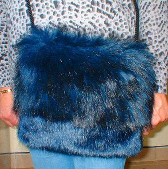Midnight Blue and Midnight Navy Blue Faux Fur Shoulder Bag