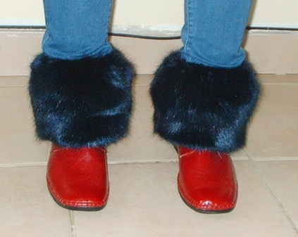 Midnight Navy Blue Faux Fur Boot Toppers