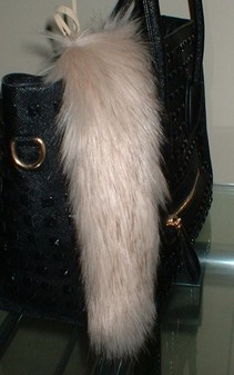 Fawn Musquash Faux Fur Tail Handbag Key Charm