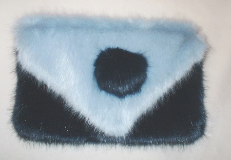 Midnight Navy and Powder Blue Faux Fur Clutch Bag