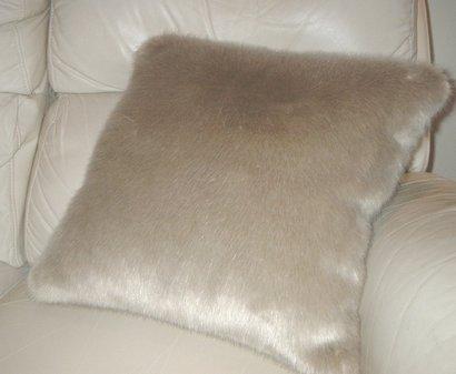 Honey Blonde Faux Fur Cushion 20 x 20 inch. 51 x 51 cm