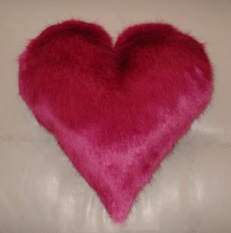 Hot Pink Mink Faux Fur Heart Shaped Cushion