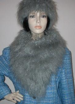 Mongolian Grey Faux Fur Assymetric Scarf