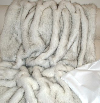 SALE Alaska Faux Fur Throw with White Faux Suede