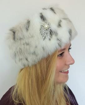Snow Lynx Faux Fur Headband with Diamante Brooch
