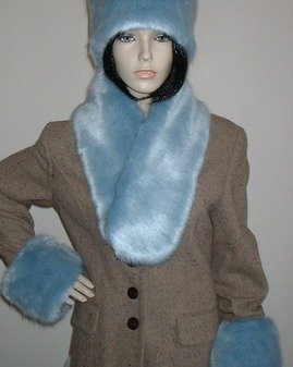 Powder Blue Faux Fur Neck Scarf