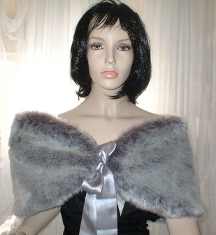 Silver Lavender Fox Faux Fur Wrap