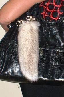 Polar Fox Faux Fur Tail Handbag Key Charm