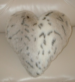 Snow Lynx Faux Fur Heart Shaped Cushion