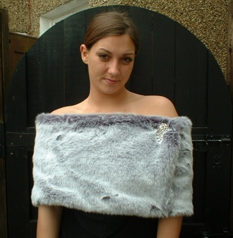 Silver Lavender Fox Faux Fur Flapper