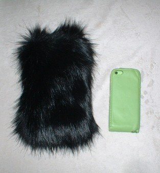 Black Bear Faux Fur Phone Case