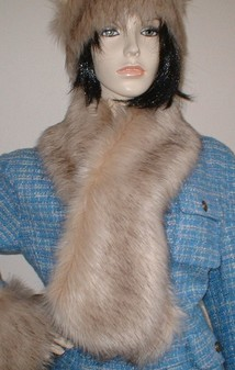 Fawn Musquash Faux Fur Pull Through Scarf