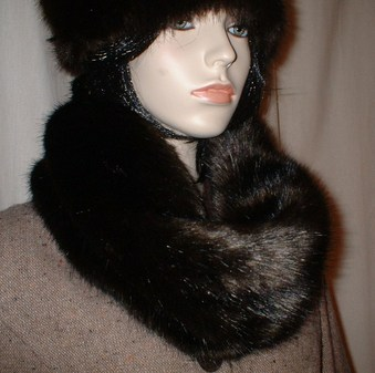 Mahogany Mink Faux Fur Cowl/neck Warmer