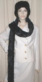 Black Astra Faux Fur Super Long Scarf