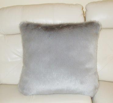 Silver Mink Faux Fur Cushion 61 x 61cm