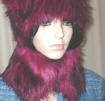 Magenta Faux Fur Collar