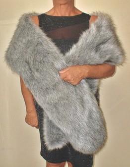 Silver Musquash Faux Fur Slim Stole