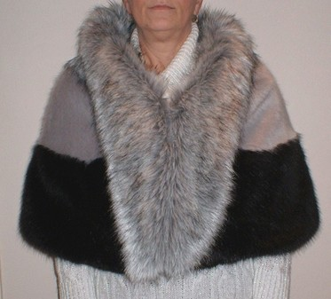 Silver and Black Faux Fur Trinity Cape
