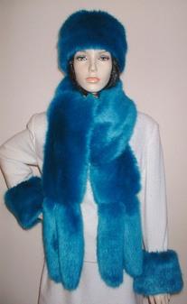 Azure Blue Faux Fur Tail Scarf