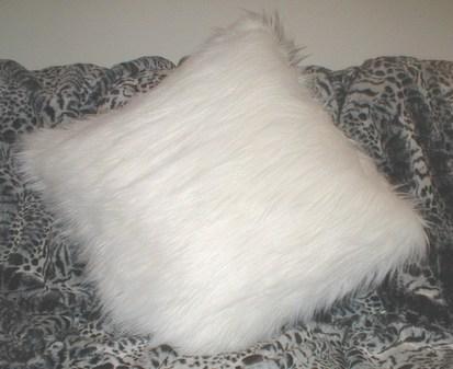 Polar Bear Faux Fur Cushion 24 x 24 inches. 61 x 61 cm