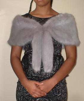Silver Mink Faux Fur Vintage Foxy Wrap