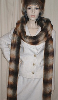 Golden Brown Chinchilla Faux Fur Super Long Scarf