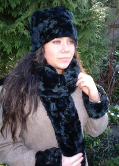 Black Astra Faux Fur Scarf