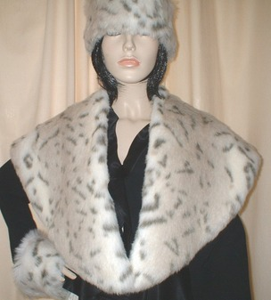Snow Lynx Faux Fur Shawl Collar
