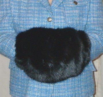 Black Mink Faux Fur Muff