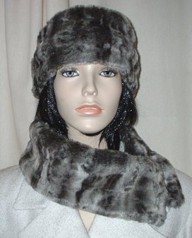 Vintage Silver Astra Faux Fur Long Collar