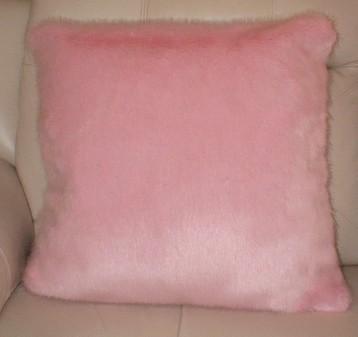 Raspberry Cream Mink Faux Fur Cushion 61x61cm (24 inches)