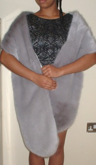Silver Mink Faux Fur Slim Stole