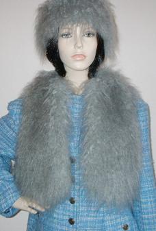 Mongolian Grey Faux Fur Bolero Waistcoat