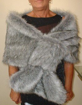 Silver Musquash Faux Fur Pull Through Stole