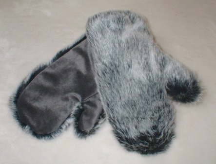 Arctic Wolf Faux Fur Mittens