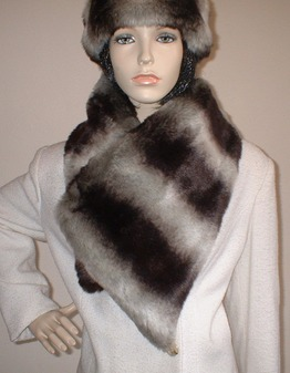 Chinchilla Faux Fur Vintage Asymmetric Scarf