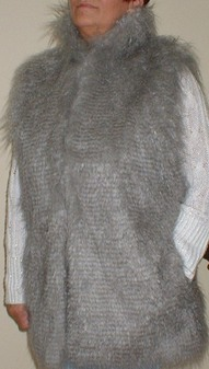 Mongolian Grey Faux Fur Long Gilet