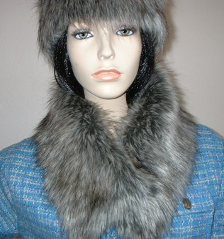 Timber Wolf Faux Fur Long Collar
