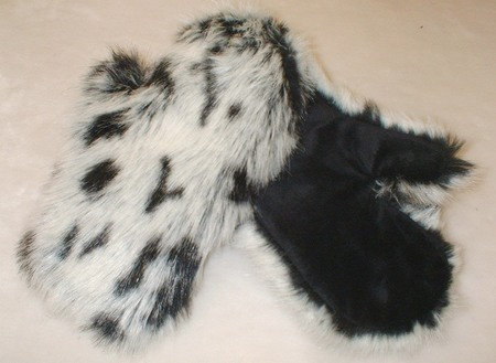 Winter Leopard Faux Fur Mittens