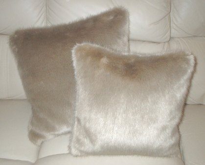 Honey Blonde Faux Fur Cushions