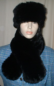 Black Mink Faux Fur Neck Scarf