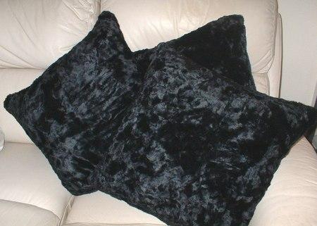 Black Astra Faux Fur Cushions
