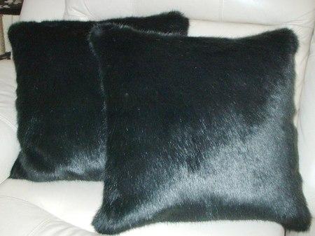 Charcoal Mink Faux Fur Cushion 51 x 51