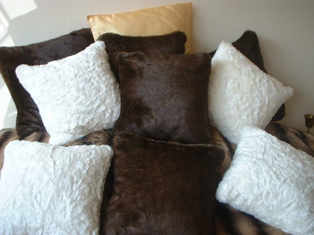 Ivory Astra Faux Fur Cushions