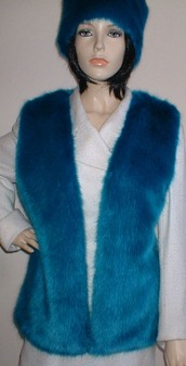 Azure Blue Faux Fur Gilet