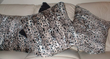 Wild Cat Faux Fur Cushion with Black Faux Suede 16 x16 inches