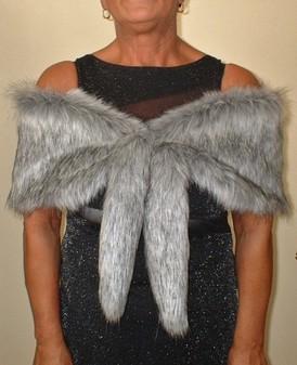 Silver Musquash Faux Fur Vintage Foxy Wrap