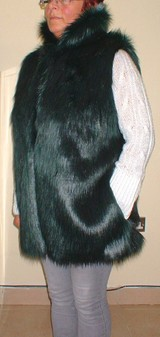 Emerald Black Faux Fur Long Gilet